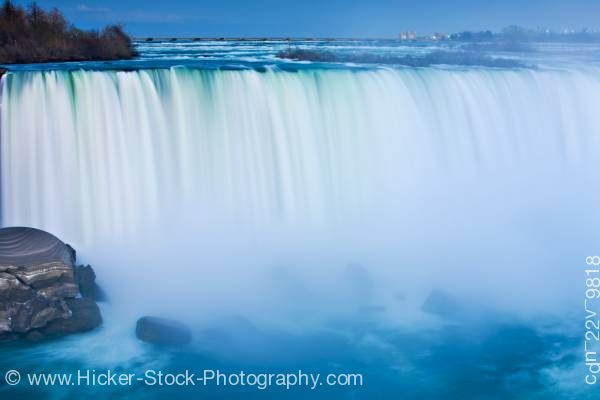 Stock photo of Horseshoe Falls Niagara River Dusk Niagara Falls Ontario Canada