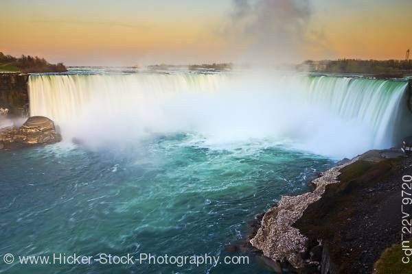 Stock photo of Horseshoe Falls at Dusk Niagara River Niagara Falls Ontario Canada