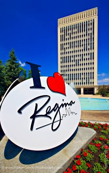 Stock photo of City Hall building, fountain, sign in Queen Elizabeth II Court City of Regina Saskatchewan Canada