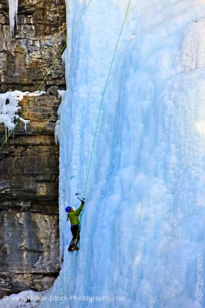 Stock photo of Ice Climber Upper Falls Johnston Creek Winter Banff National Park Alberta Canada