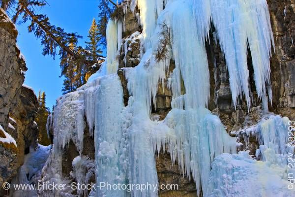 Stock photo of Ice Formations Johnston Canyon Upper Falls Banff National Park Alberta Canada