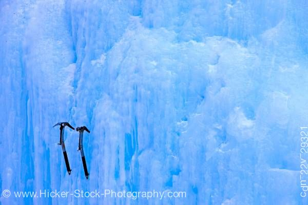 Stock photo of Ice Picks Blue Ice Wall Upper Falls Johnston Canyon Banff National Park Alberta Canada