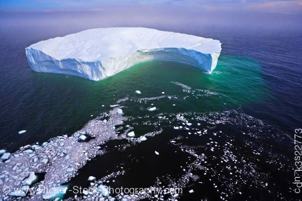 Stock photo of Iceberg Aerial Ocean View Strait of Belle Isle Southern Labrador Labrador Newfoundland Canada