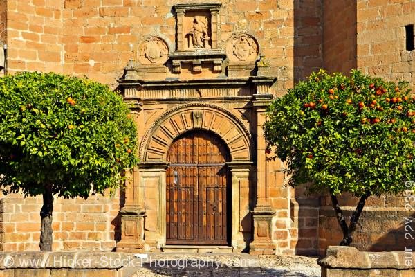 Stock photo of Iglesia de San Mateo in Plaza de la Constitucion town of Banos de la Encina Province of Jaen