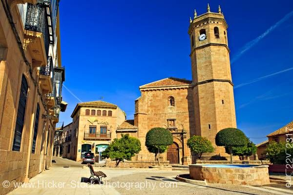 Stock photo of Iglesia de San Mateo in Plaza de la Constitucion town of Banos de la Encina Spain