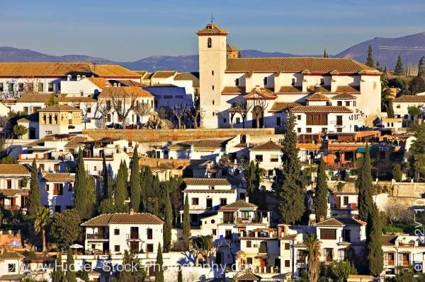 Stock photo of Iglesia de San Nicolas Plaza de San Nicolas in Albayzin City Granada