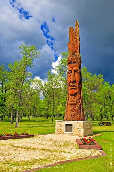 Stock photo of Indian head cedar carving Winnipeg Beach Provincial Recreation Area Winnipeg Beach Manitoba Canada