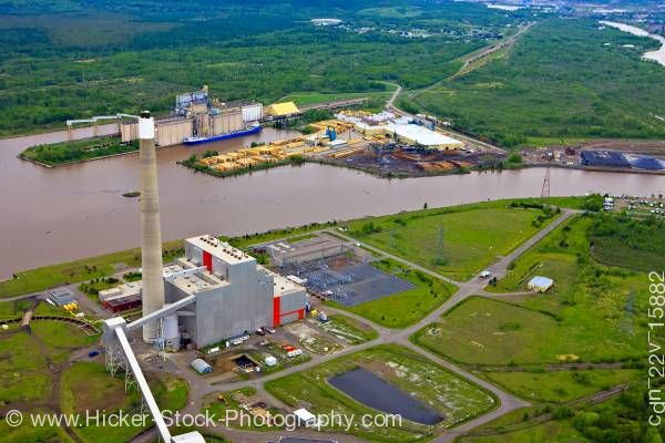 Stock photo of Industrial Landscape Aerial View Shore of Lake Superior City of Thunder Bay Ontario Canada