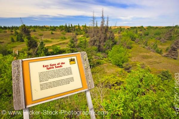 Stock photo of Interpretive sign at the East Gate of the Spirit Sands Trail Spruce Woods Provincial Park Manitoba