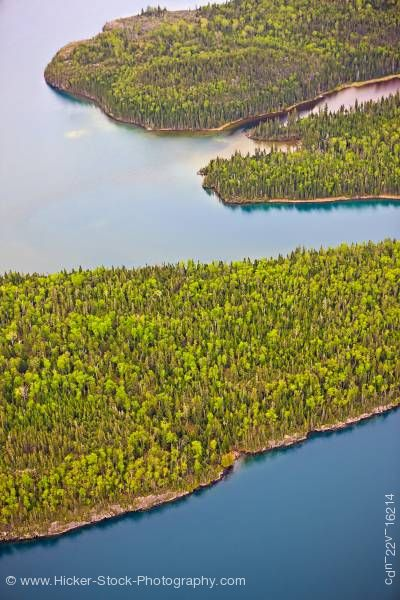 Stock photo of Aerial View of Islands and Forest Lake Superior Flight From Thunder Bay Ontario Canada