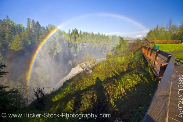 Stock photo of Kakabeka Falls Rainbow Boardwalk Blue Sky Kakabeka Falls Provincial Park near Thunder Bay Ontario