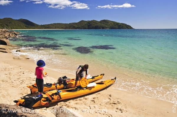Stock photo of Kayakers Beach Abel Tasman National Park