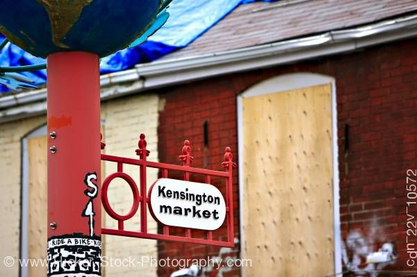 Stock photo of Street Sign Kensington Market Toronto Ontario Canada