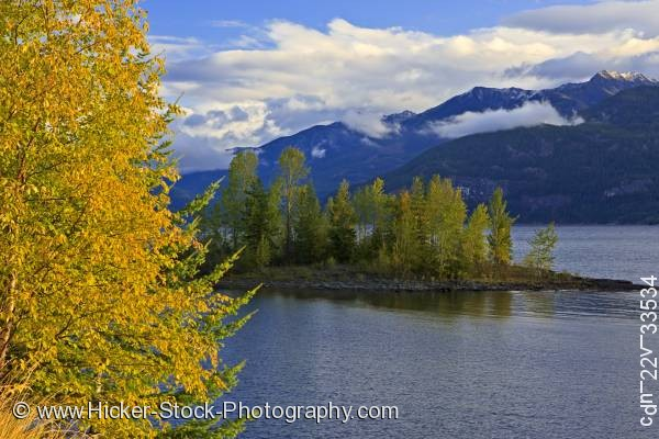 Stock photo of Fall autumn colors Kootenay Lake British Columbia Canada