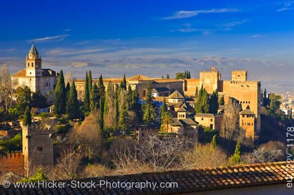 Stock photo of La Alhambra from Upper Gardens of Generalife City of Granada Province of Granada Andalusia Spain