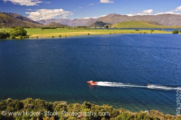 Stock photo of Water skier on Lake Wanaka at Glendhu Bay Central Otago South Island New Zealand