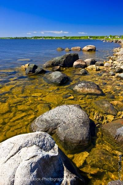 Stock photo of Rocky shoreline of Lake Winnipeg Hecla Provincial Park Hecla Island Manitoba Canada
