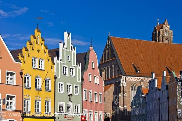 Stock photo of Colorful facades of buildings in Old Town district in City of Landshut Bavaria Germany Europe
