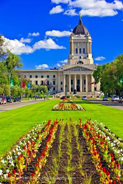 Stock photo of Flower Gardens Legislative Building City of Winnipeg Manitoba Canada