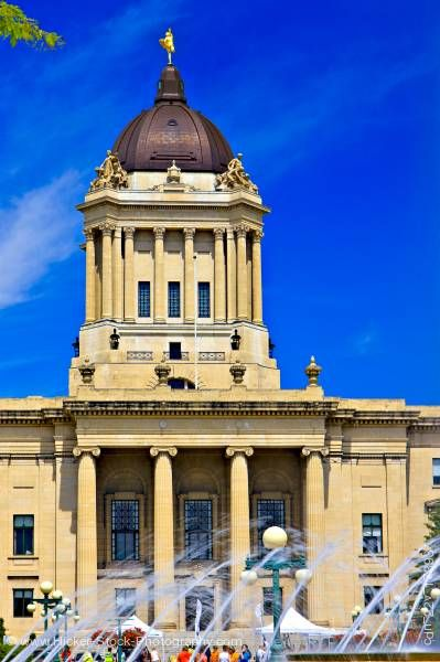 Stock photo of Manitoba Legislative Building seen from Manitoba Plaza in the City of Winnipeg in Manitoba Canada
