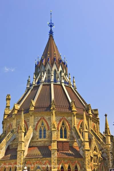 Stock photo of Rooftop Library of Parliament Ottawa Ontario Canada