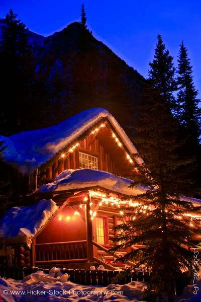Stock photo of Log Cabin Lake Louise Banff National Park Alberta Canada