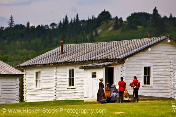 Stock photo of Log cabin costumes Fort Walsh National Historic Site Cypress Hills Interprovincial Park Saskatchewan