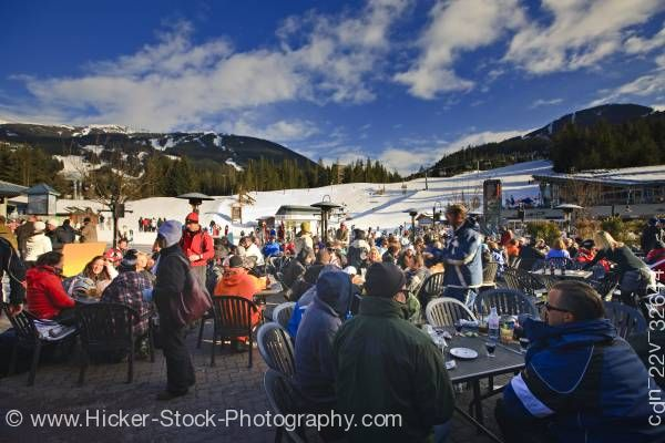 Stock photo of Patrons At Longhorn Saloon And Grill Apres Ski Bar Whistler Mountain British Columbia Canada