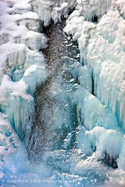 Stock photo of Frozen Lower Falls Johnston Creek Johnston Canyon Banff National Park Alberta Canada