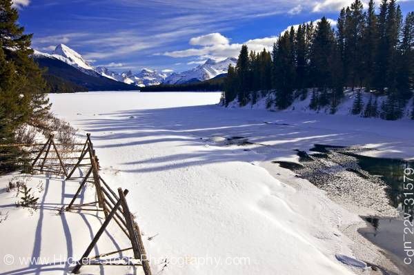 Stock photo of Maligne River Samson Peak Winter Jasper National Park Canadian Rocky Mountains Alberta Canada