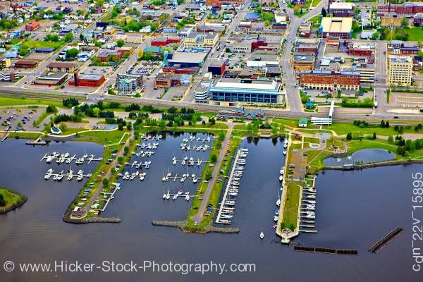 Stock photo of Aerial View of Marina and Waterfront in the City of Thunder Bay Ontario Canada