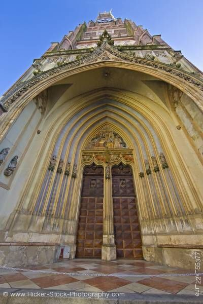Stock photo of Entrance to Martinskirche (St Martin's Church) in Old Town district city of Landshut Bavaria Germany