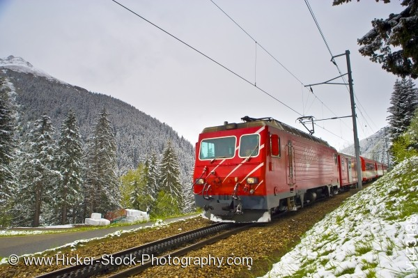 Stock photo of Matterhorn Gotthard Bahn Train with snow