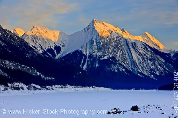 Stock photo of Medicine Lake Winter Jasper National Park Alberta Canada