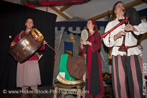 Stock photo of Medieval musical band medieval feast at Schloss Auerbach Germany