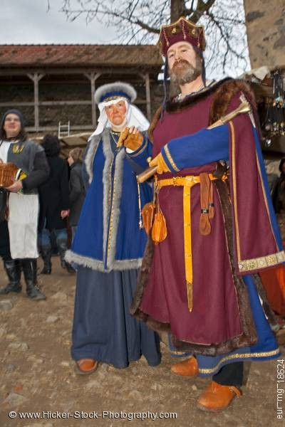 Stock photo of Couple dressed medieval clothing medieval markets Castle Ronneburg Germany