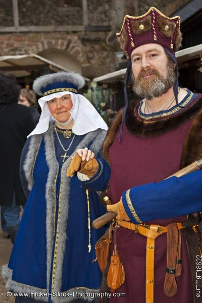 Stock photo of Man woman dressed medieval clothing medieval markets