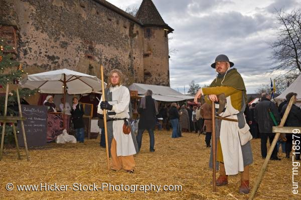 Stock photo of Medieval market Ronneburg Castle Hesse Germany