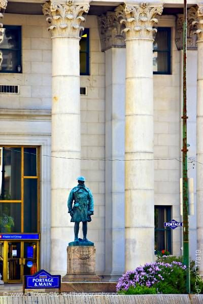 Stock photo of Statue man military uniform Bank of Montreal Winnipeg Square Mall Manitoba