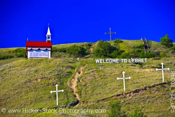 Stock photo of Colorful Mission de Qu'Appelle Church in the town of Lebret Qu'Appelle Valley Saskatchewan Canada