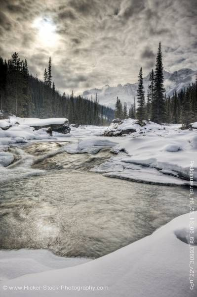 Stock photo of Mistaya River Mount Sarbach Mistaya Canyon Winter Banff National Park Alberta Canada