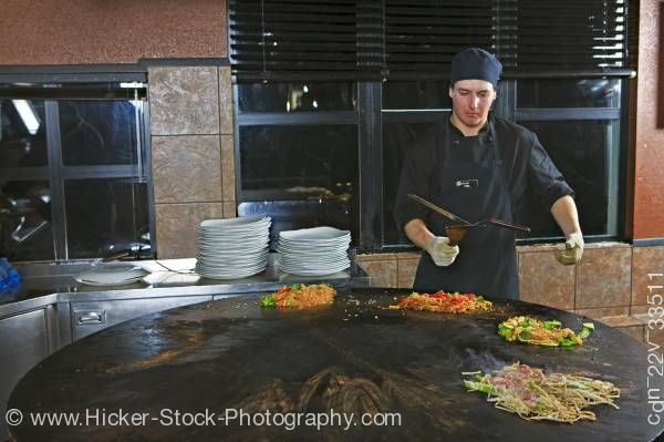 Stock photo of Chef Performance Mongolie Grill World Famous Restaurant Whistler Village British Columbia Canada