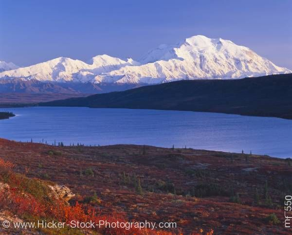 Stock photo of Mount McKinley Denali National Park Wonder Lake autumn Alaska