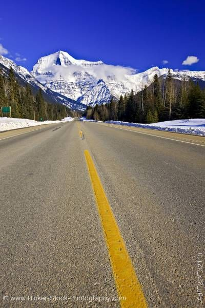 Stock photo of Yellowhead Highway Winter Mount Robson Provincial Park British Columbia Canada