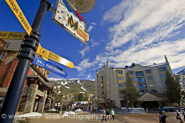 Stock photo of Mountain Square Village Stroll Blackcomb Mountain Whistler British Columbia Canada