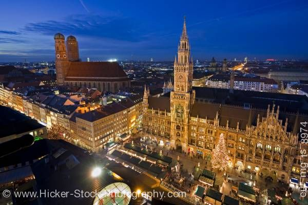 Stock photo of Aerial view of Christkindlmarkt (Christmas Markets) in Marienplatz outside Neues Rathaus in Munich