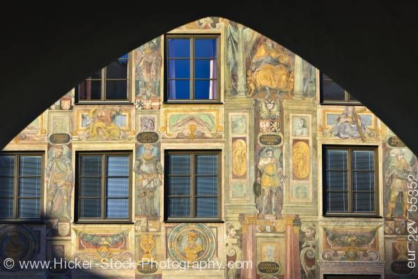 Stock photo of Murals painted on facade of building in Old Town district in City of Landshut Bavaria Germany