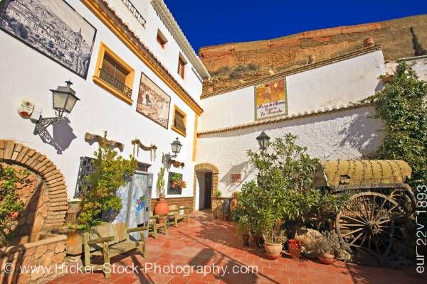 Stock photo of Entrance to Museo de Alfareria Cueva La Alcazaba Guadix Province of Granada Andalusia Spain