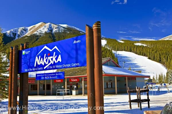 Stock photo of Nakiska Ski Resort Mount Allan Kananaskis Range Canadian Rocky Mountains Alberta Canada