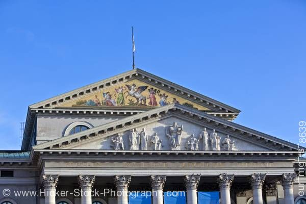 Stock photo of Details of facade above entrance to Nationaltheater City of Munich